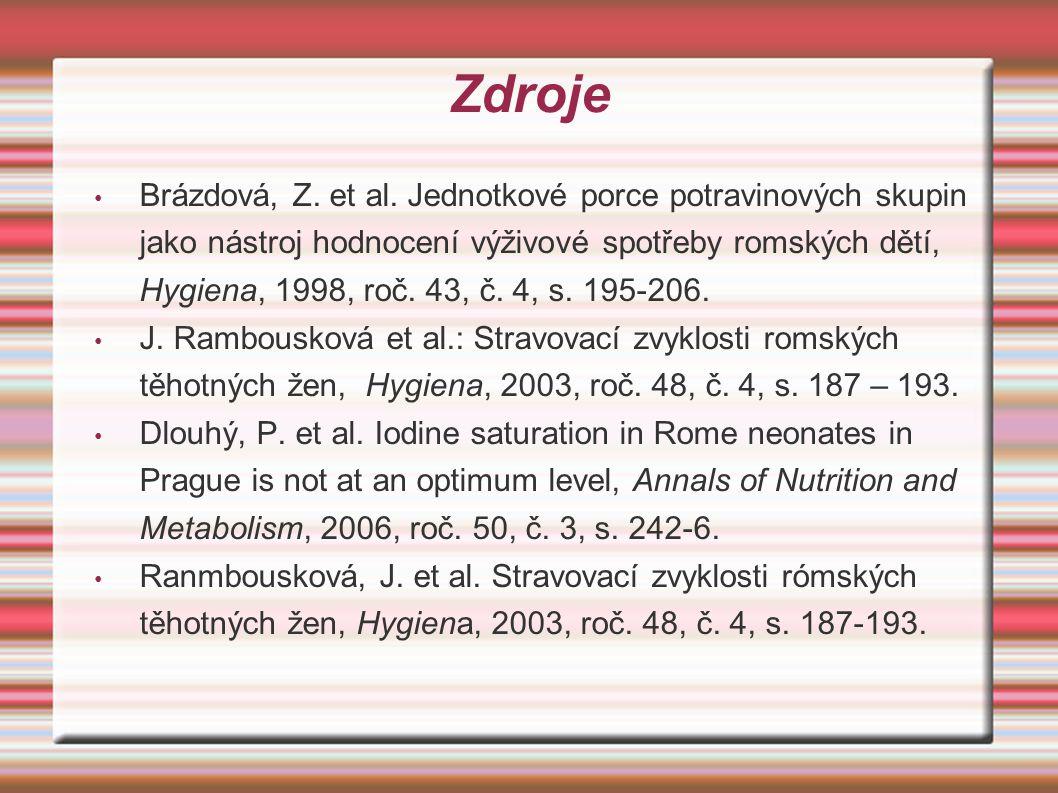 Zdroje Brázdová, Z. et al. Jednotkové porce potravinových skupin jako nástroj hodnocení výživové spotřeby romských dětí, Hygiena, 1998, roč. 43, č. 4,