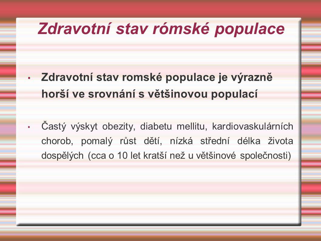 Zdravotní stav rómské populace Zdravotní stav romské populace je výrazně horší ve srovnání s většinovou populací Častý výskyt obezity, diabetu mellitu, kardiovaskulárních chorob, pomalý růst dětí, nízká střední délka života dospělých (cca o 10 let kratší než u většinové společnosti)