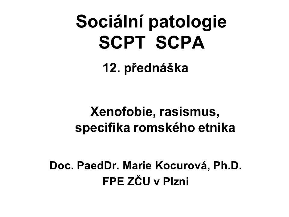 Sociální patologie SCPT SCPA 12. přednáška Xenofobie, rasismus, specifika romského etnika Doc. PaedDr. Marie Kocurová, Ph.D. FPE ZČU v Plzni