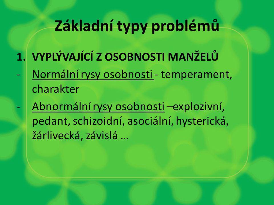 Základní typy problémů 1.VYPLÝVAJÍCÍ Z OSOBNOSTI MANŽELŮ -Normální rysy osobnosti - temperament, charakter -Abnormální rysy osobnosti –explozivní, pedant, schizoidní, asociální, hysterická, žárlivecká, závislá …