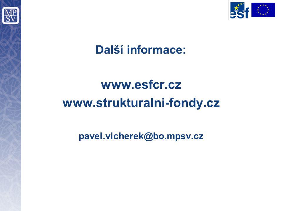 Další informace: www.esfcr.cz www.strukturalni-fondy.cz pavel.vicherek@bo.mpsv.cz
