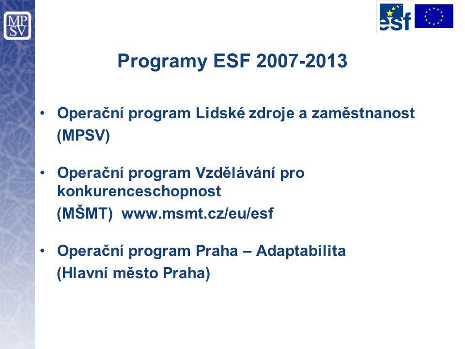 Programy ESF 2007-2013 Operační program Lidské zdroje a zaměstnanost (MPSV) Operační program Vzdělávání pro konkurenceschopnost (MŠMT) www.msmt.cz/eu/