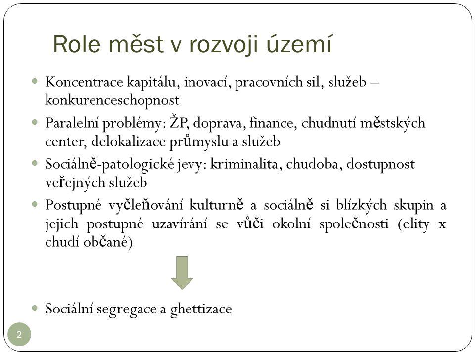Role měst v rozvoji území 2 Koncentrace kapitálu, inovací, pracovních sil, služeb – konkurenceschopnost Paralelní problémy: ŽP, doprava, finance, chud