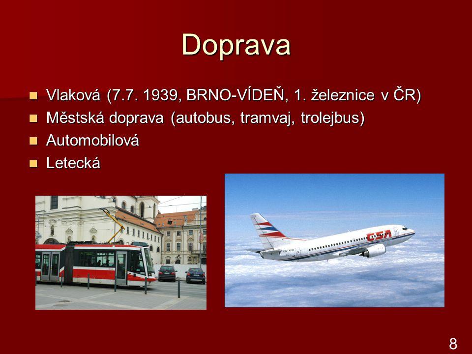 Doprava Vlaková (7.7. 1939, BRNO-VÍDEŇ, 1. železnice v ČR) Vlaková (7.7. 1939, BRNO-VÍDEŇ, 1. železnice v ČR) Městská doprava (autobus, tramvaj, trole