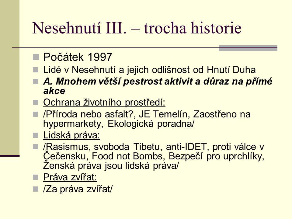 Nesehnutí III.– trocha historie Počátek 1997 Lidé v Nesehnutí a jejich odlišnost od Hnutí Duha A.