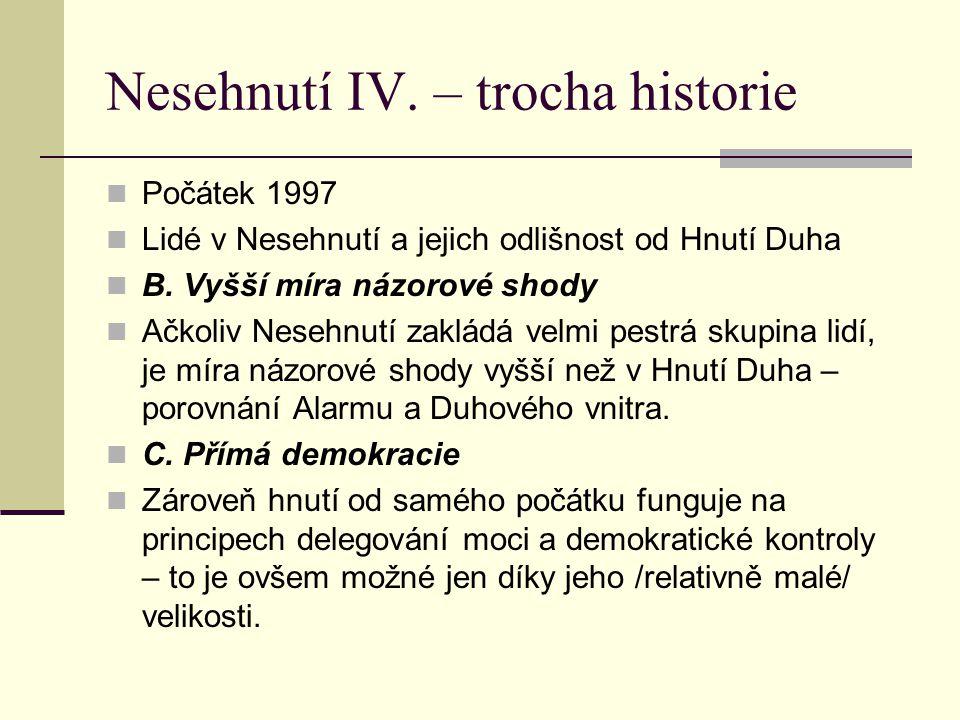 Nesehnutí IV.– trocha historie Počátek 1997 Lidé v Nesehnutí a jejich odlišnost od Hnutí Duha B.