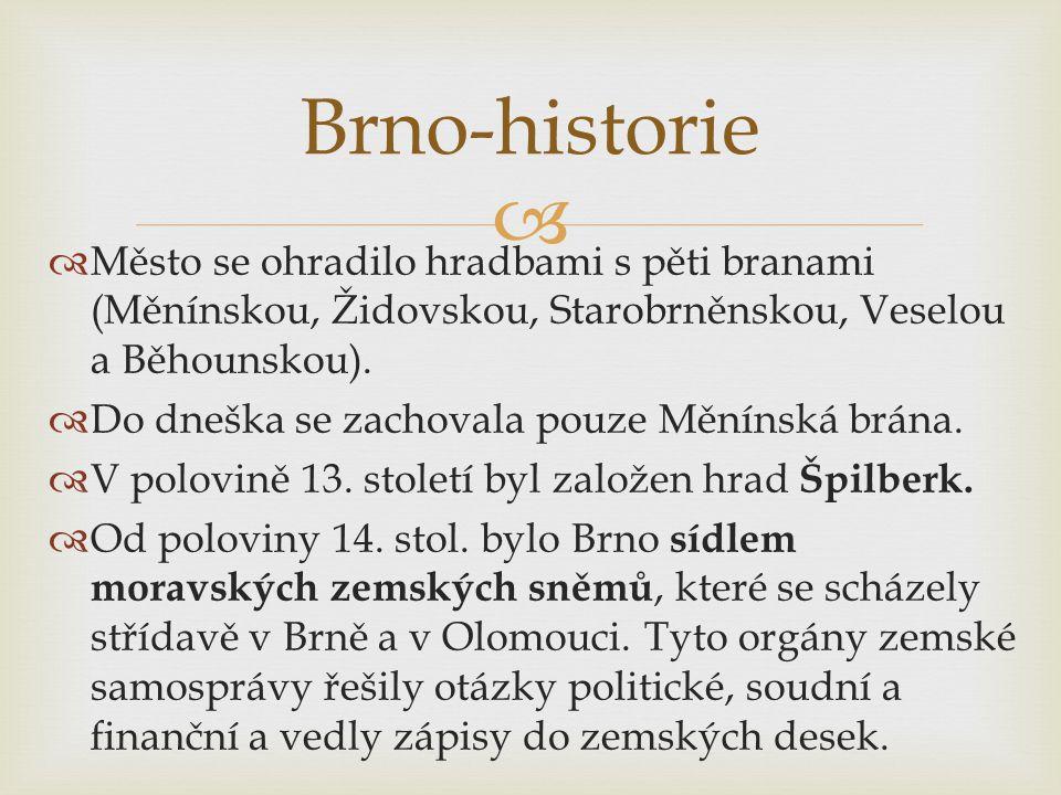   Město se ohradilo hradbami s pěti branami (Měnínskou, Židovskou, Starobrněnskou, Veselou a Běhounskou).
