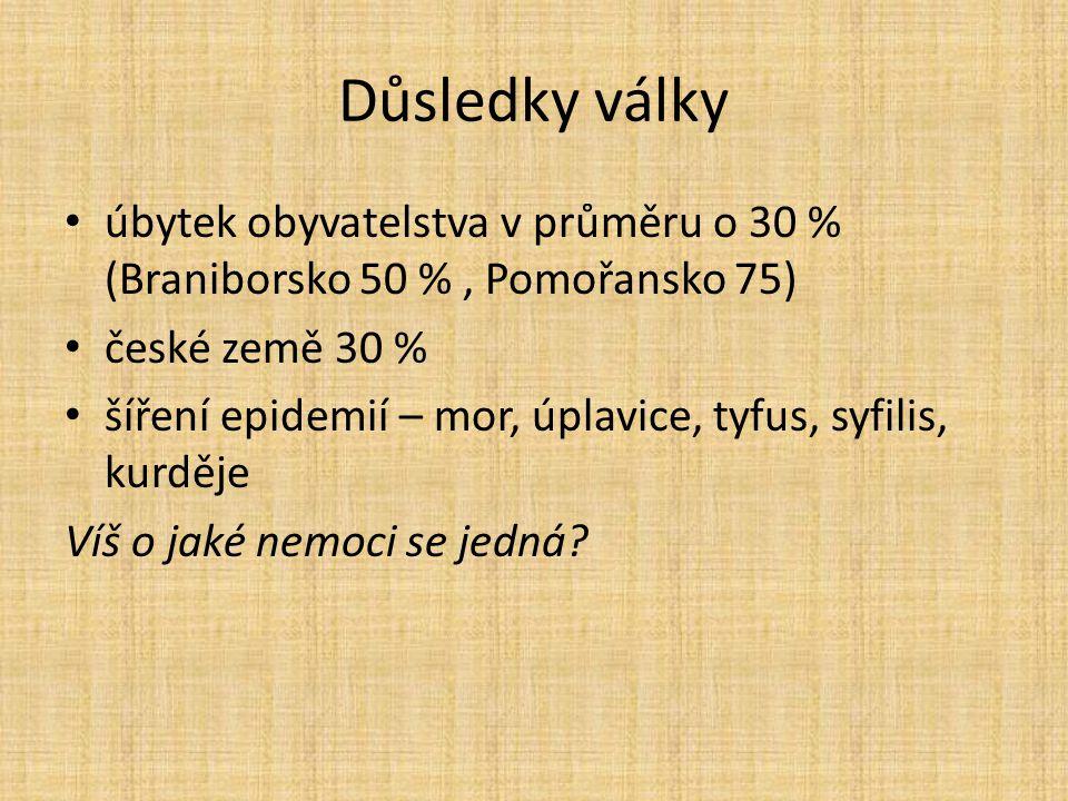 Důsledky války úbytek obyvatelstva v průměru o 30 % (Braniborsko 50 %, Pomořansko 75) české země 30 % šíření epidemií – mor, úplavice, tyfus, syfilis,