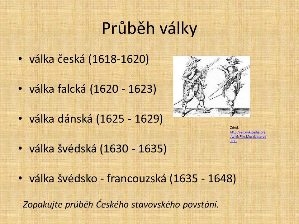 Průběh války válka česká (1618-1620) válka falcká (1620 - 1623) válka dánská (1625 - 1629) válka švédská (1630 - 1635) válka švédsko - francouzská (16