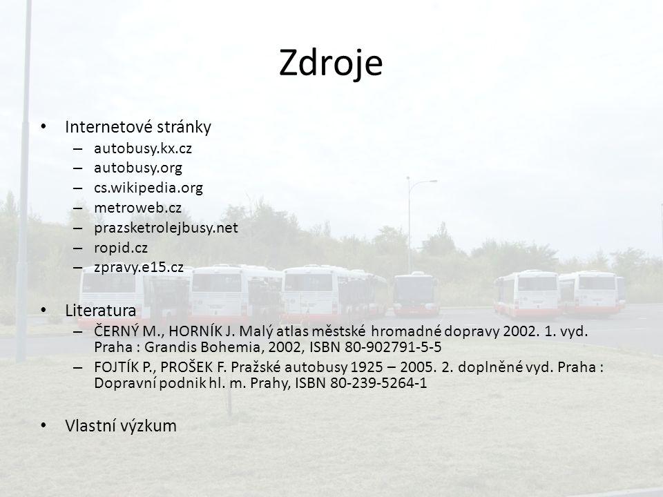 Zdroje Internetové stránky – autobusy.kx.cz – autobusy.org – cs.wikipedia.org – metroweb.cz – prazsketrolejbusy.net – ropid.cz – zpravy.e15.cz Literat