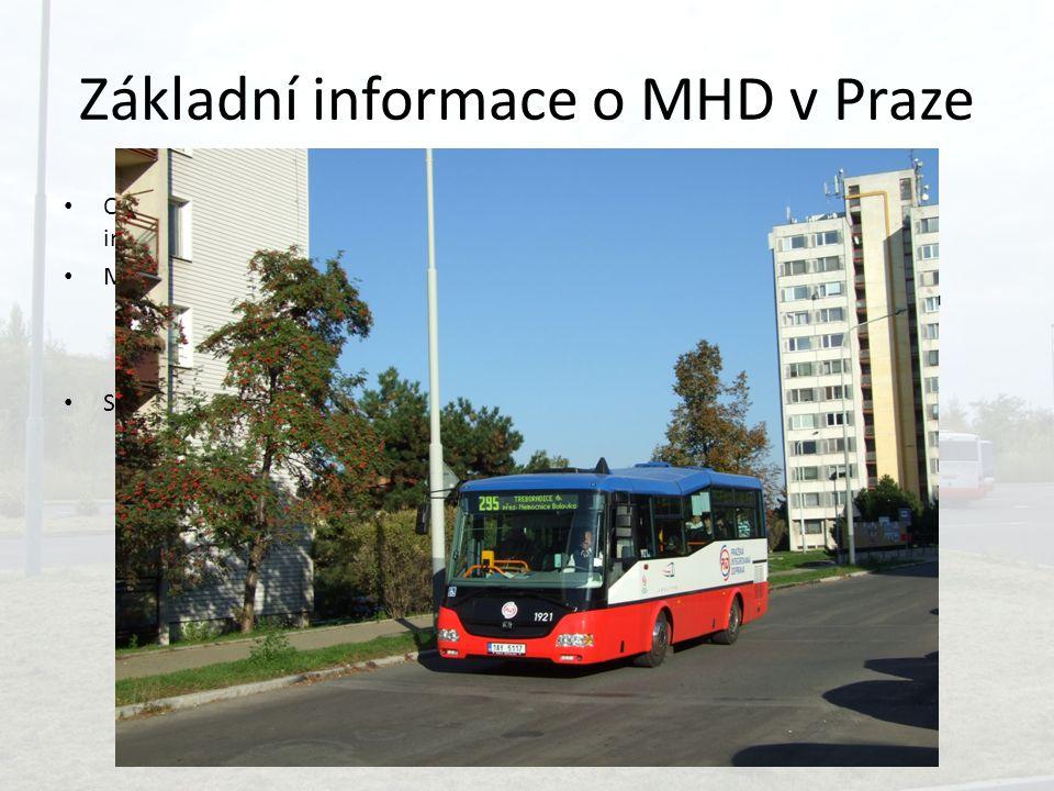 Základní informace o MHD v Praze Celá MHD je součástí PID – Pražské integrované dopravy Mnoho dopravců – Hlavní Dopravní podnik hl. m. Prahy – Řídí RO