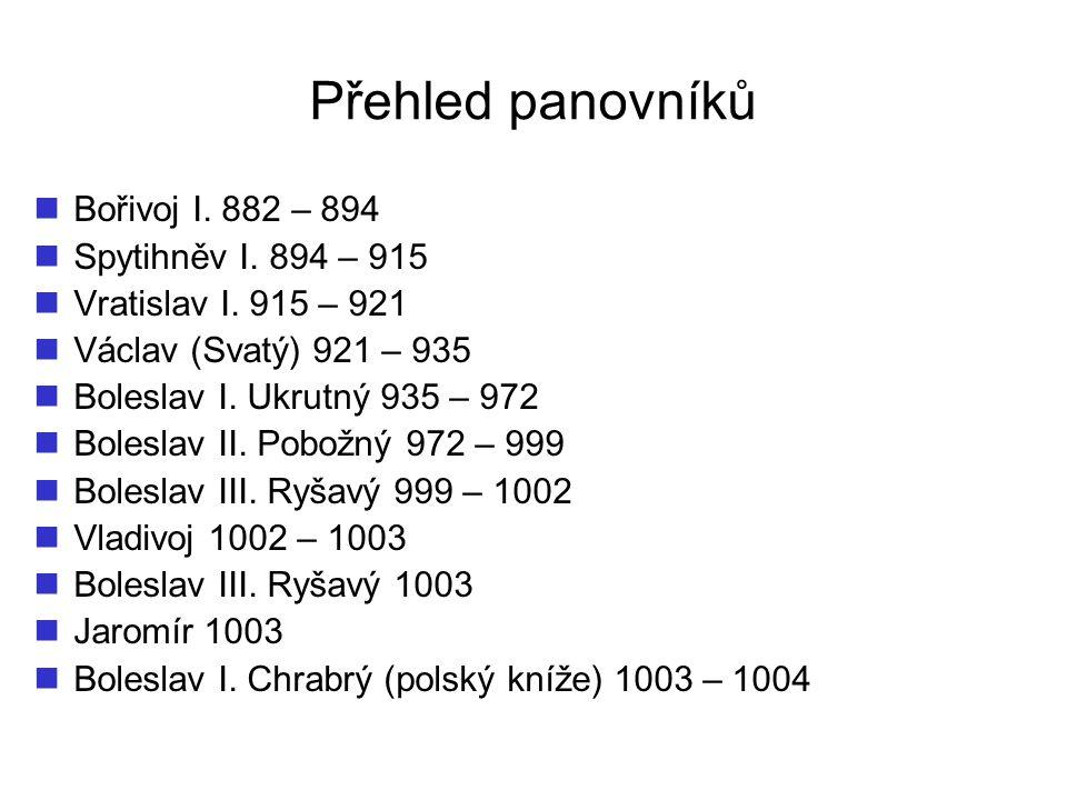 Přehled panovníků Bořivoj I. 882 – 894 Spytihněv I. 894 – 915 Vratislav I. 915 – 921 Václav (Svatý) 921 – 935 Boleslav I. Ukrutný 935 – 972 Boleslav I