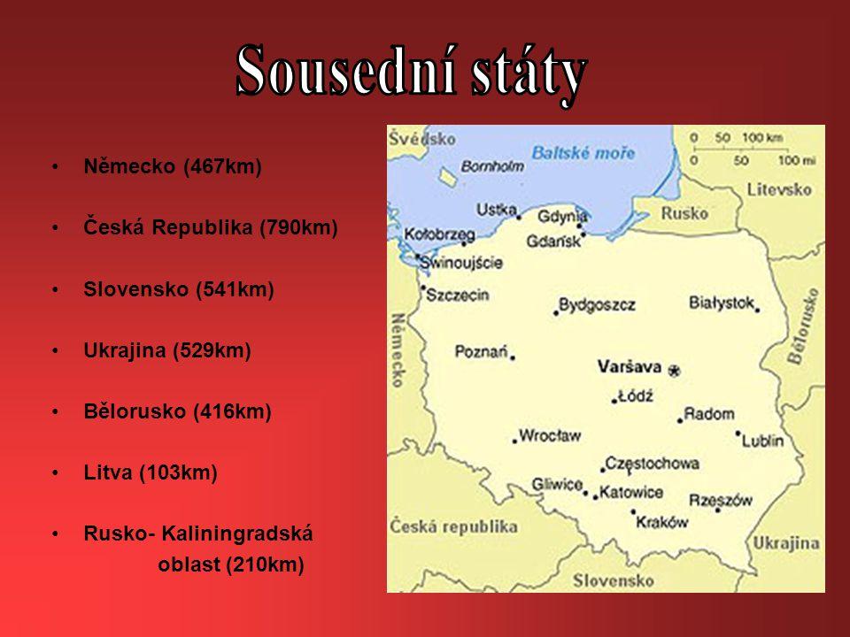 Německo (467km) Česká Republika (790km) Slovensko (541km) Ukrajina (529km) Bělorusko (416km) Litva (103km) Rusko- Kaliningradská oblast (210km)