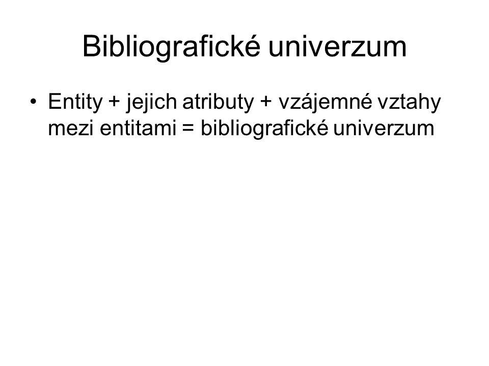 Bibliografické univerzum Entity + jejich atributy + vzájemné vztahy mezi entitami = bibliografické univerzum