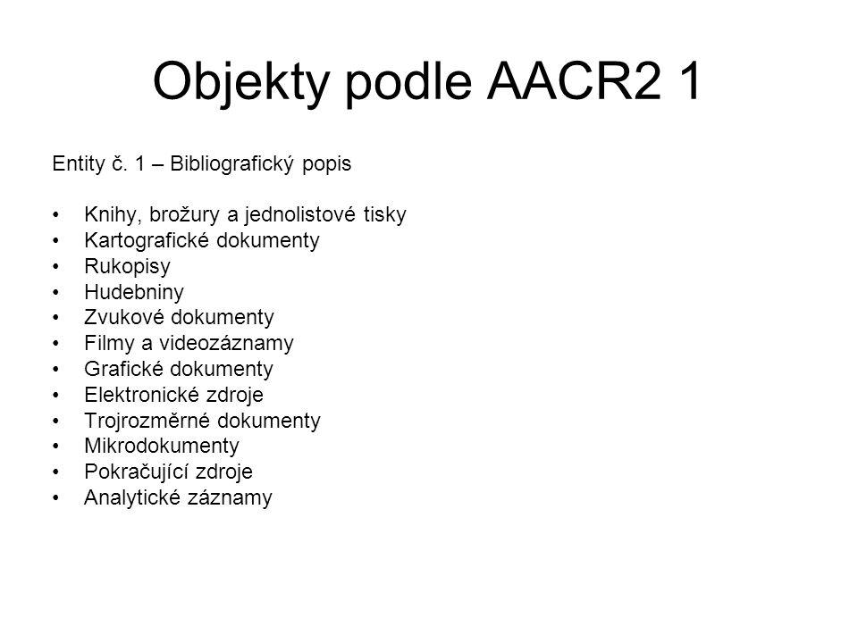 Objekty podle AACR2 1 Entity č. 1 – Bibliografický popis Knihy, brožury a jednolistové tisky Kartografické dokumenty Rukopisy Hudebniny Zvukové dokume