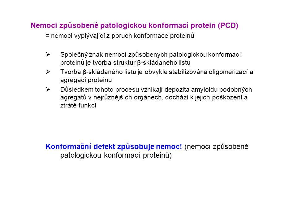 Nemoci způsobené patologickou konformací protein (PCD) = nemoci vyplývající z poruch konformace proteinů  Společný znak nemocí způsobených patologickou konformací proteinů je tvorba struktur β-skládaného listu  Tvorba β-skládaného listu je obvykle stabilizována oligomerizací a agregací proteinu  Důsledkem tohoto procesu vznikají depozita amyloidu podobných agregátů v nejrůznějších orgánech, dochází k jejich poškození a ztrátě funkcí Konformační defekt způsobuje nemoc.