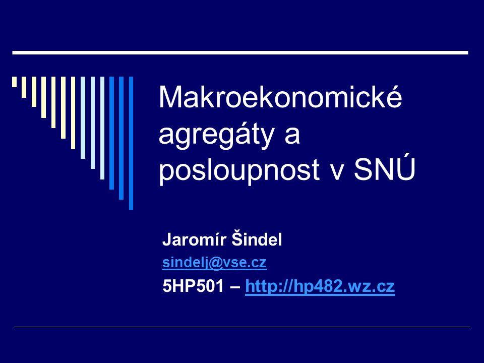 Makroekonomické agregáty a posloupnost v SNÚ Jaromír Šindel sindelj@vse.cz 5HP501 – http://hp482.wz.czhttp://hp482.wz.cz