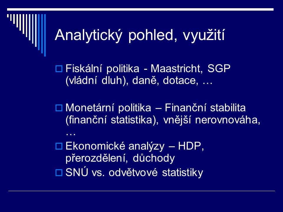 Analytický pohled, využití  Fiskální politika - Maastricht, SGP (vládní dluh), daně, dotace, …  Monetární politika – Finanční stabilita (finanční statistika), vnější nerovnováha, …  Ekonomické analýzy – HDP, přerozdělení, důchody  SNÚ vs.