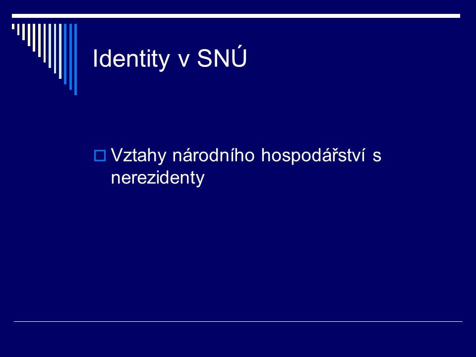 Identity v SNÚ  Vztahy národního hospodářství s nerezidenty