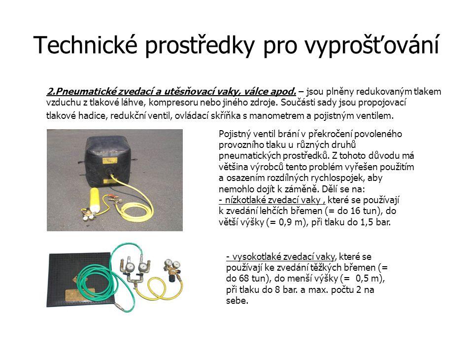 Technické prostředky pro vyprošťování 2.Pneumatické zvedací a utěsňovací vaky, válce apod. – jsou plněny redukovaným tlakem vzduchu z tlakové láhve, k
