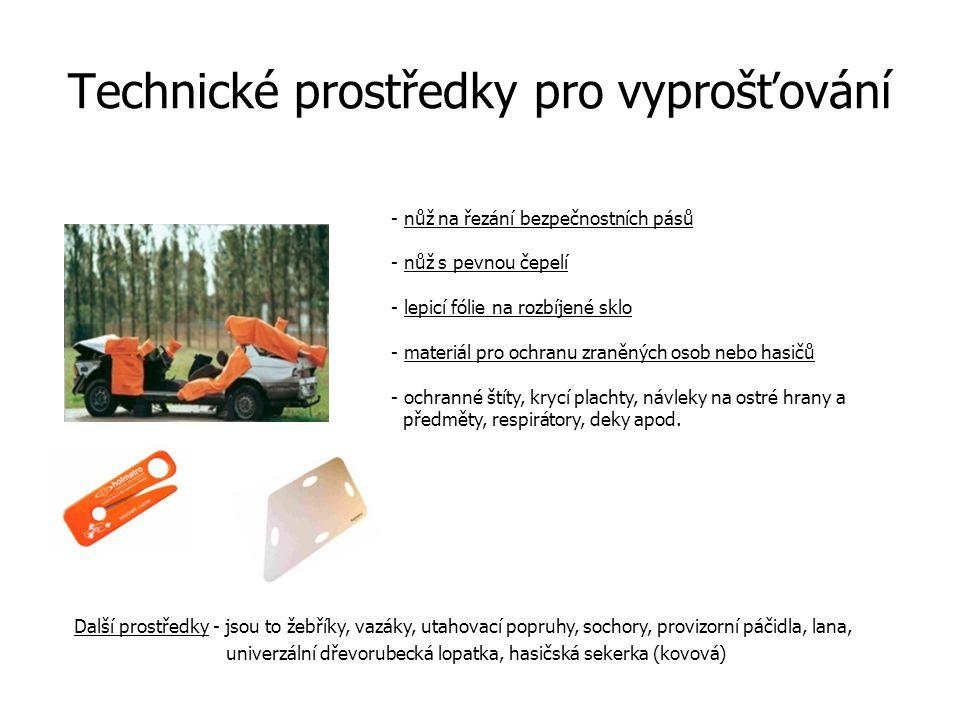 Technické prostředky pro vyprošťování - nůž na řezání bezpečnostních pásů - nůž s pevnou čepelí - lepicí fólie na rozbíjené sklo - materiál pro ochran