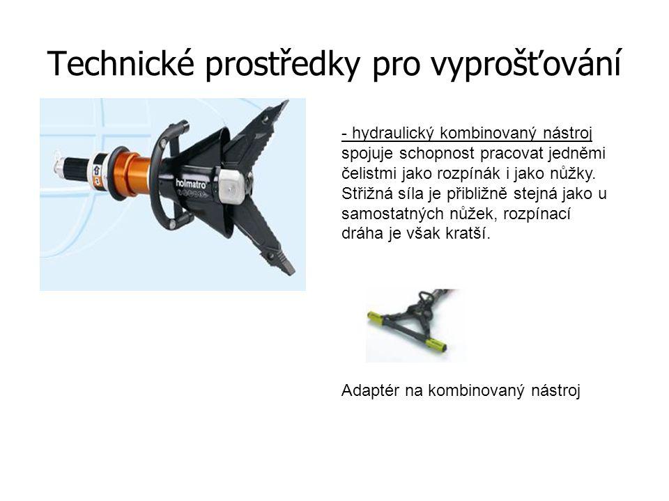 Technické prostředky pro vyprošťování - hydraulický kombinovaný nástroj spojuje schopnost pracovat jedněmi čelistmi jako rozpínák i jako nůžky. Střižn