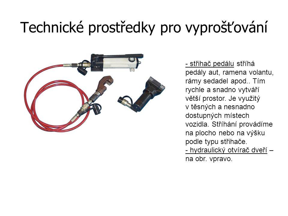 Technické prostředky pro vyprošťování - zachycovač airbagu řidiče nebo spolujezdce - se používá u neaktivovaného airbagu.