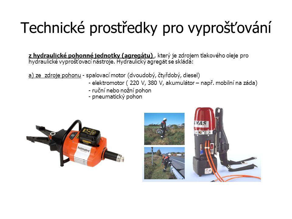 Technické prostředky pro vyprošťování z hydraulické pohonné jednotky (agregátu), který je zdrojem tlakového oleje pro hydraulické vyprošťovací nástroj