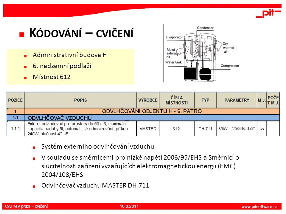 www.pitsoftware.cz CAFM v praxi – cvičení 10.3.2011 K ÓDOVÁNÍ – CVIČENÍ Systém externího odvlhčování vzduchu V souladu se směrnicemi pro nízké napětí 2006/95/EHS a Směrnicí o slučitelnosti zařízení vyzařujících elektromagnetickou energii (EMC) 2004/108/EHS Odvlhčovač vzduchu MASTER DH 711 Administrativní budova H 6.