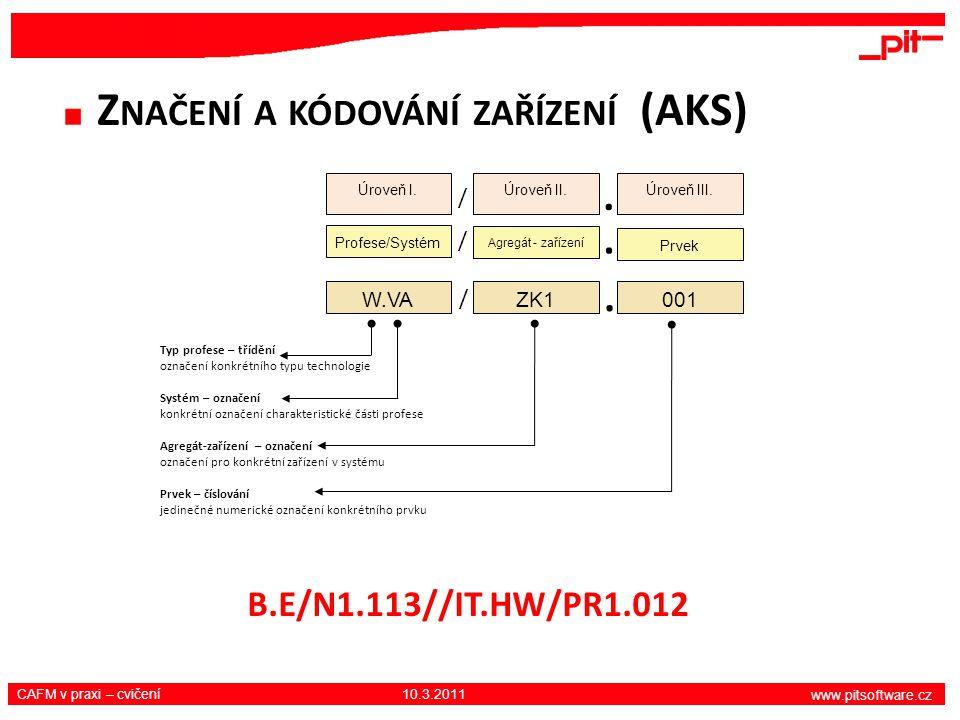 www.pitsoftware.cz CAFM v praxi – cvičení 10.3.2011 Z NAČENÍ A KÓDOVÁNÍ ZAŘÍZENÍ (AKS) Typ profese – třídění označení konkrétního typu technologie Sys