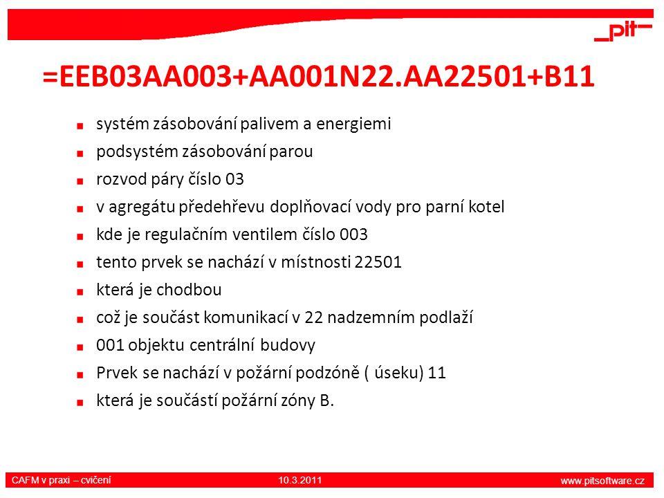www.pitsoftware.cz CAFM v praxi – cvičení 10.3.2011 =EEB03AA003+AA001N22.AA22501+B11 systém zásobování palivem a energiemi podsystém zásobování parou rozvod páry číslo 03 v agregátu předehřevu doplňovací vody pro parní kotel kde je regulačním ventilem číslo 003 tento prvek se nachází v místnosti 22501 která je chodbou což je součást komunikací v 22 nadzemním podlaží 001 objektu centrální budovy Prvek se nachází v požární podzóně ( úseku) 11 která je součástí požární zóny B.