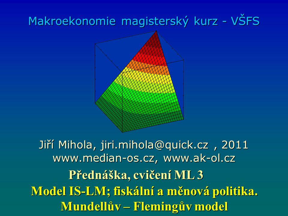 Mundell-Flemingův model i Y IS LM 1 LM 0 i1i1i1i1 Y0Y0Y0Y0 Y1Y1Y1Y1 BP 1 Fixní měnový kurz 1) Měnová expanze posun LM a.Pokles domácí úrokové sazby, b.Odliv kapitálu do zahraničí, tlak na depreciaci domácí měny.