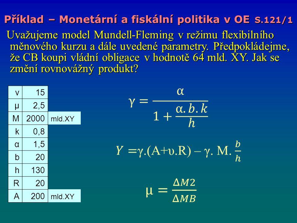Příklad – Monetární a fiskální politika v OE S.121/1 Uvažujeme model Mundell-Fleming v režimu flexibilního měnového kurzu a dále uvedené parametry. Př