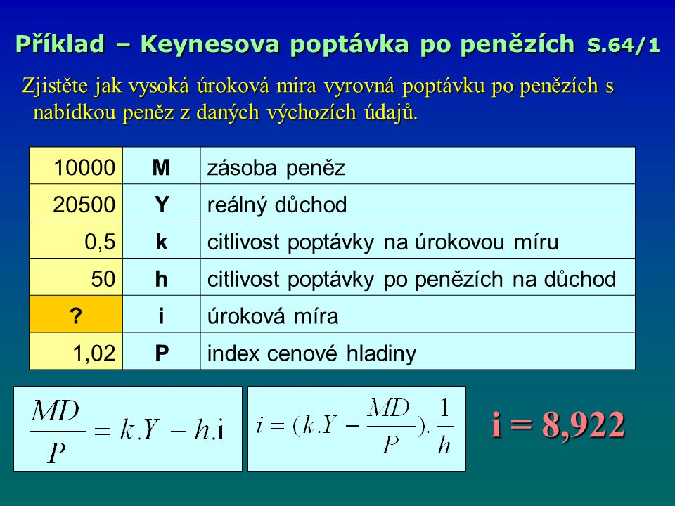 i = 8,922 i = 8,922 Příklad – Keynesova poptávka po penězích S.64/1 Zjistěte jak vysoká úroková míra vyrovná poptávku po penězích s nabídkou peněz z daných výchozích údajů.