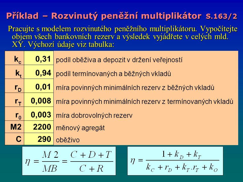 Pracujte s modelem rozvinutého peněžního multiplikátoru. Vypočítejte objem všech bankovních rezerv a výsledek vyjádřete v celých mld. XY. Výchozí údaj