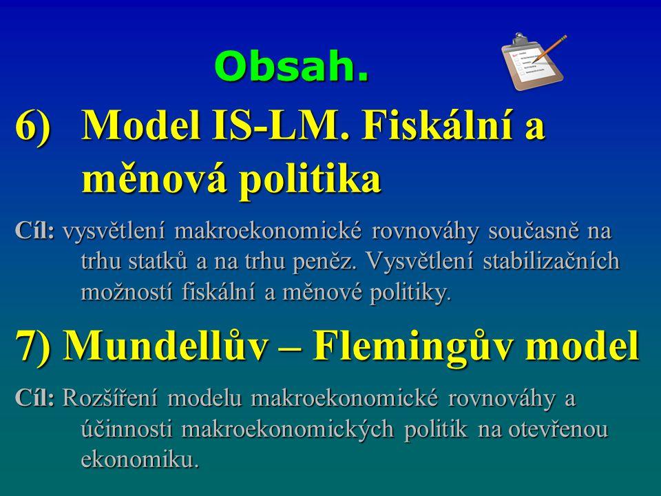 Obsah. 6)Model IS-LM. Fiskální a měnová politika Cíl: vysvětlení makroekonomické rovnováhy současně na trhu statků a na trhu peněz. Vysvětlení stabili