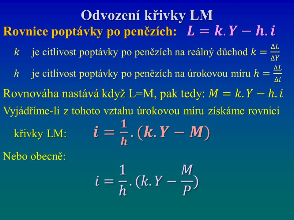 Odvození křivky LM