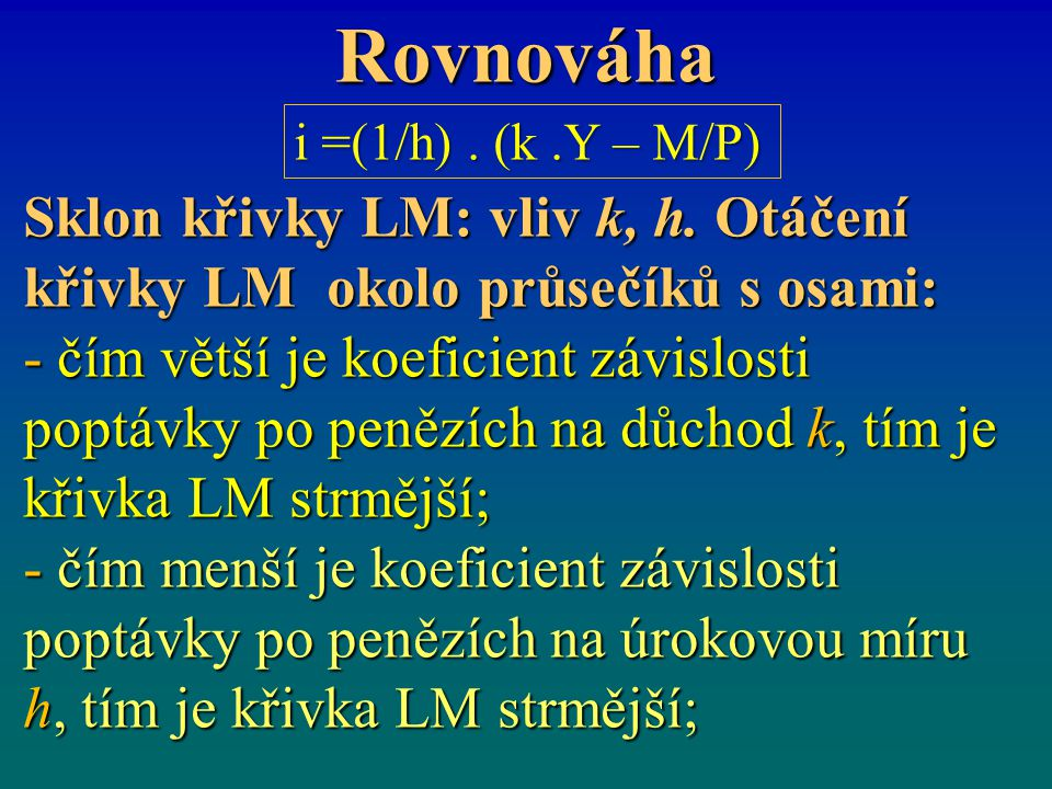 Rovnováha Sklon křivky LM: vliv k, h.