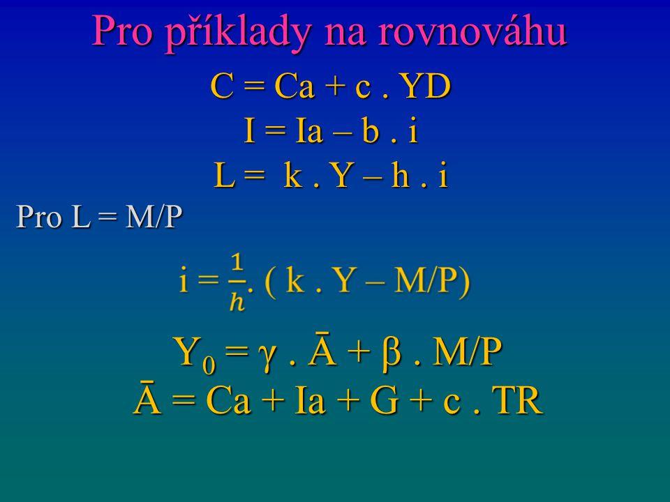 Pro příklady na rovnováhu C = Ca + c. YD I = Ia – b. i L = k. Y – h. i Pro L = M/P Y 0 = γ. Ā + β. M/P Ā = Ca + Ia + G + c. TR