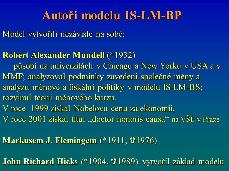 Model vytvořili nezávisle na sobě: Robert Alexander Mundell (*1932) působí na univerzitách v Chicagu a New Yorku v USA a v MMF; analyzoval podmínky zavedení společné měny a analýzu měnové a fiskální politiky v modelu IS-LM-BS; rozvinul teorii měnového kurzu.