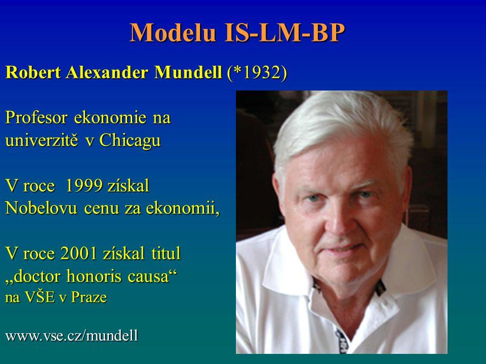 "Robert Alexander Mundell (*1932) Profesor ekonomie na univerzitě v Chicagu V roce 1999 získal Nobelovu cenu za ekonomii, V roce 2001 získal titul ""doctor honoris causa na VŠE v Praze www.vse.cz/mundell Modelu IS-LM-BP"