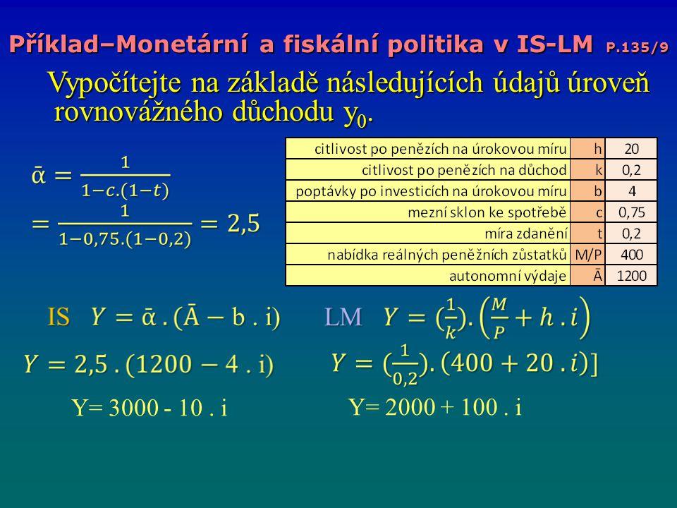 Příklad–Monetární a fiskální politika v IS-LM P.135/9 Vypočítejte na základě následujících údajů úroveň rovnovážného důchodu y 0. Vypočítejte na zákla