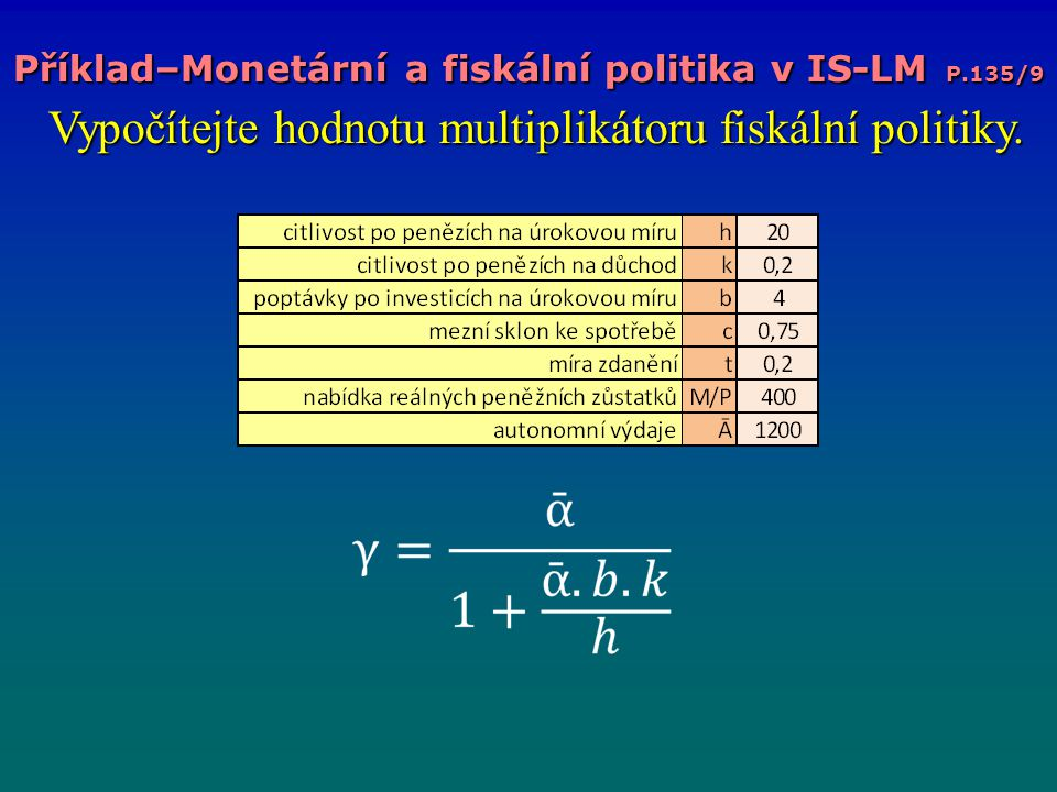 Příklad–Monetární a fiskální politika v IS-LM P.135/9 Vypočítejte hodnotu multiplikátoru fiskální politiky. Vypočítejte hodnotu multiplikátoru fiskáln