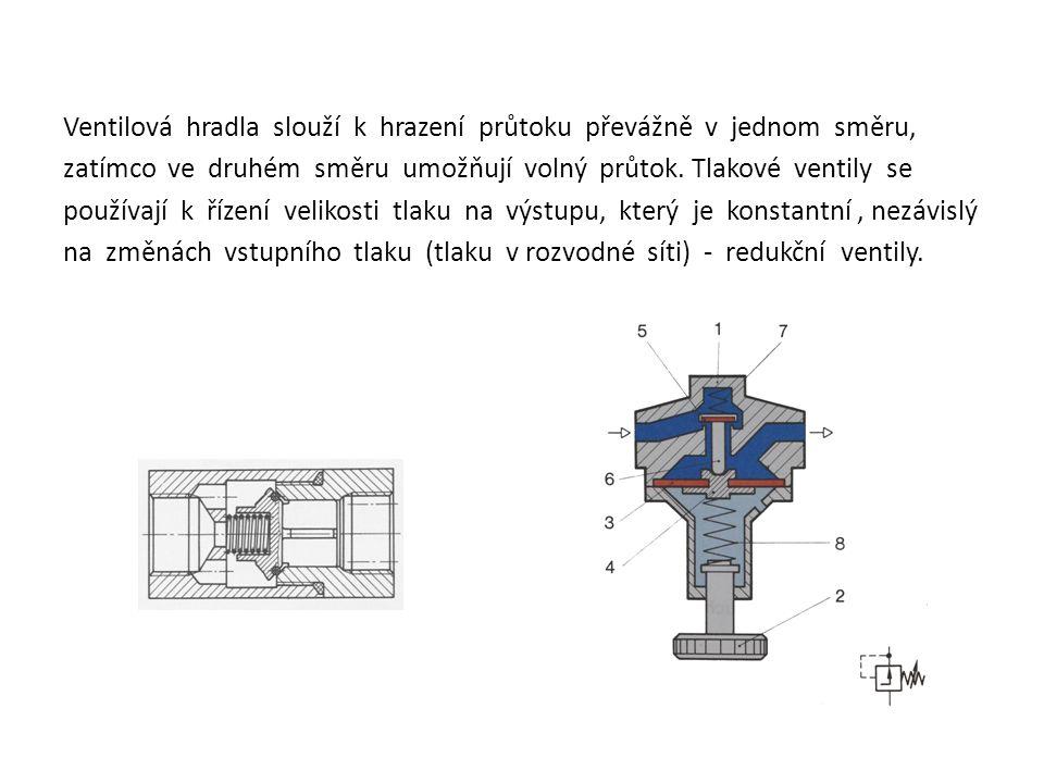 Ventilová hradla slouží k hrazení průtoku převážně v jednom směru, zatímco ve druhém směru umožňují volný průtok. Tlakové ventily se používají k řízen