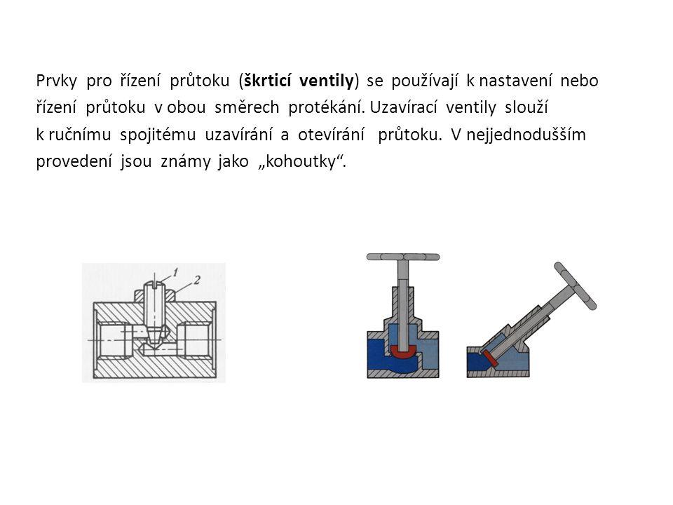 Prvky pro řízení průtoku (škrticí ventily) se používají k nastavení nebo řízení průtoku v obou směrech protékání. Uzavírací ventily slouží k ručnímu s