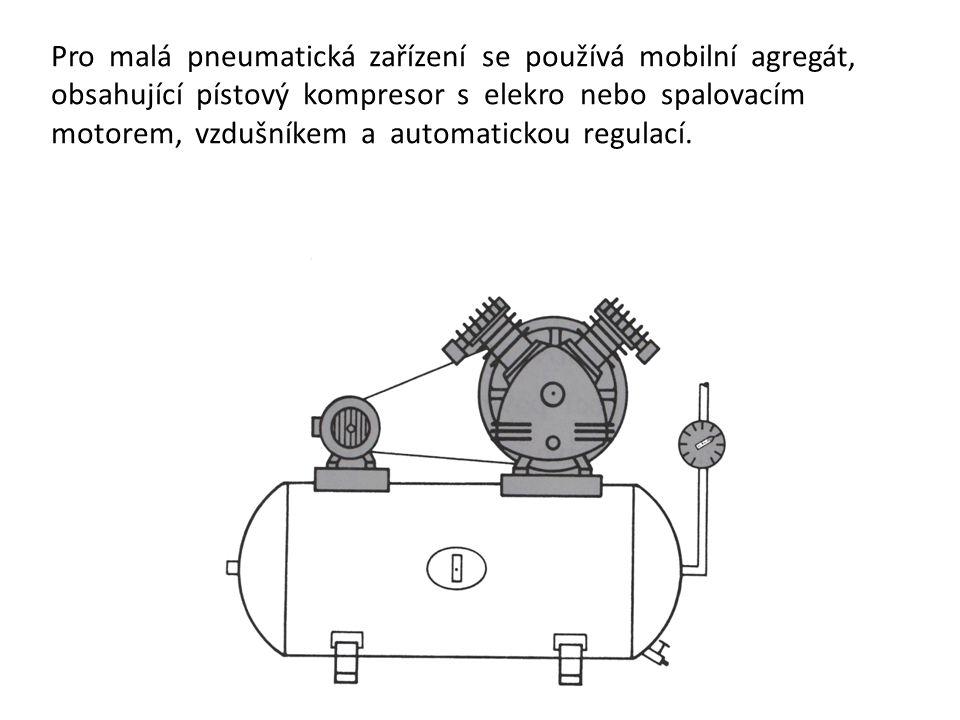 Pro malá pneumatická zařízení se používá mobilní agregát, obsahující pístový kompresor s elekro nebo spalovacím motorem, vzdušníkem a automatickou reg