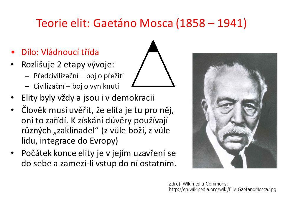 Teorie elit: Gaetáno Mosca (1858 – 1941) Dílo: Vládnoucí třída Rozlišuje 2 etapy vývoje: – Předcivilizační – boj o přežití – Civilizační – boj o vyniknutí Elity byly vždy a jsou i v demokracii Člověk musí uvěřit, že elita je tu pro něj, oni to zařídí.