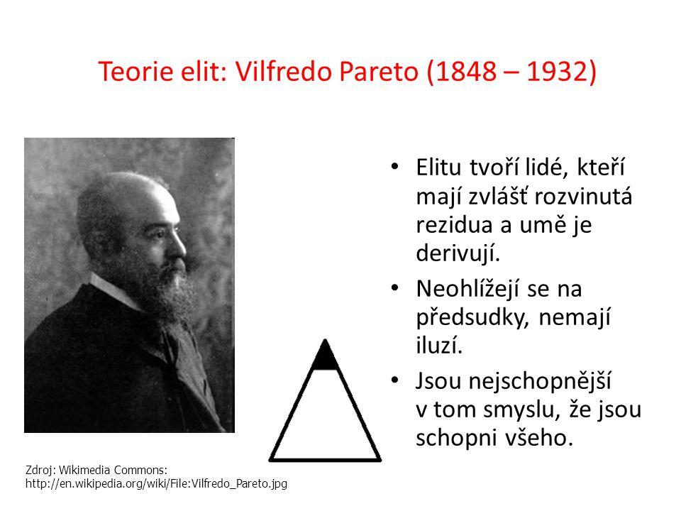 Teorie elit: Vilfredo Pareto (1848 – 1932) Elitu tvoří lidé, kteří mají zvlášť rozvinutá rezidua a umě je derivují.