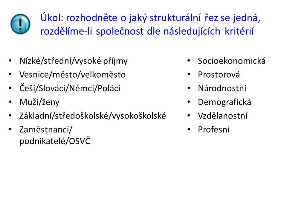Úkol: rozhodněte o jaký strukturální řez se jedná, rozdělíme-li společnost dle následujících kritérií Nízké/střední/vysoké příjmy Vesnice/město/velkoměsto Češi/Slováci/Němci/Poláci Muži/ženy Základní/středoškolské/vysokoškolské Zaměstnanci/ podnikatelé/OSVČ Socioekonomická Prostorová Národnostní Demografická Vzdělanostní Profesní