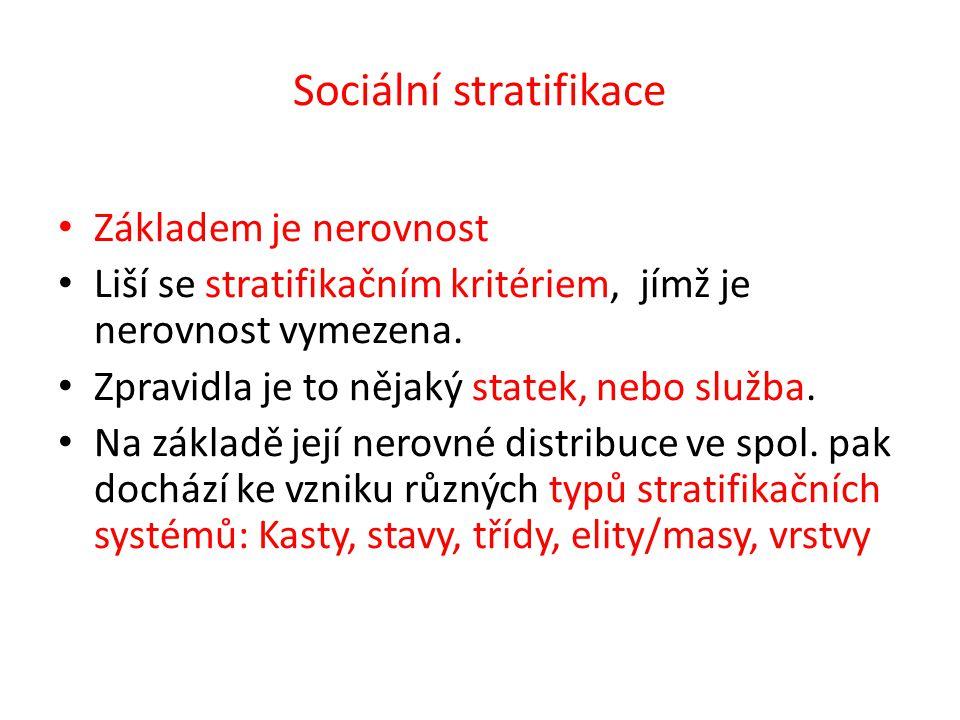 Sociální stratifikace Základem je nerovnost Liší se stratifikačním kritériem, jímž je nerovnost vymezena.